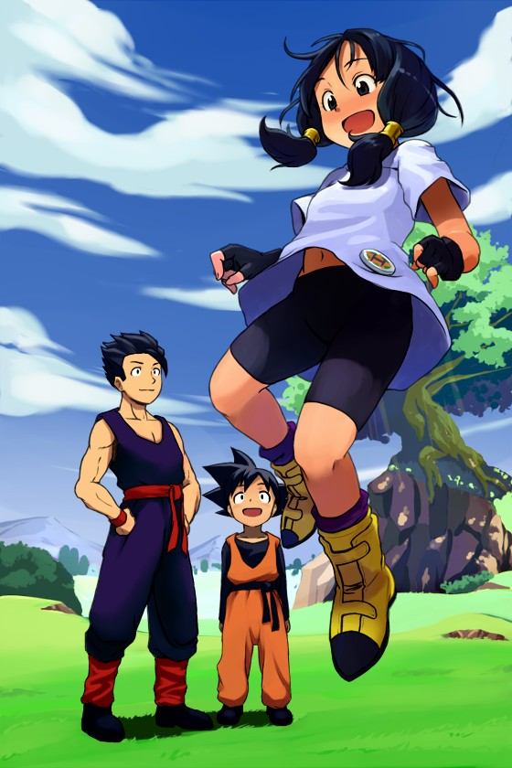 Tags: Anime, DRAGON BALL, DRAGON BALL Z, Videl, Son Gohan, Son Goten, Bike Shorts, Gi, Mobile Wallpaper