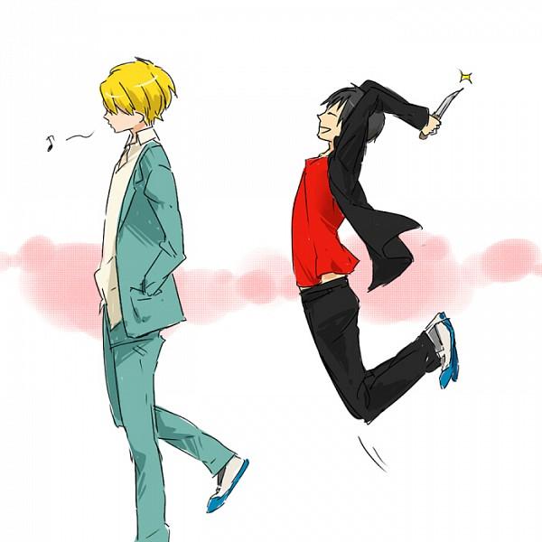 Tags: Anime, Rmtsm, DURARARA!!, Orihara Izaya, Heiwajima Shizuo, Knife in Hand, Whistling