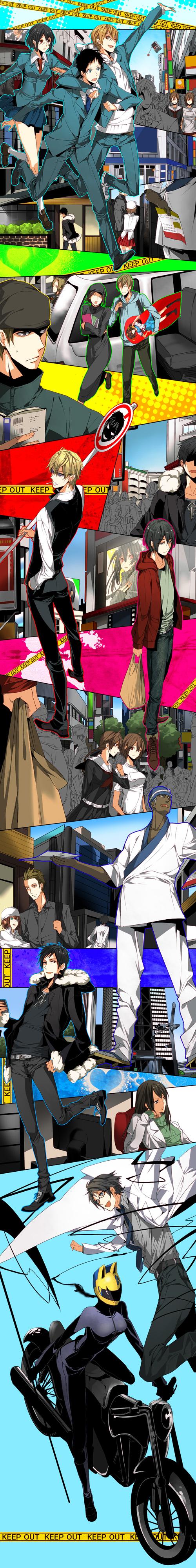 Tags: Anime, Roa Huduki, DURARARA!!, Suzumiya Haruhi no Yuuutsu, Harima Mika, Kida Masaomi, Ryuugamine Mikado, Orihara Mairu, Yagiri Seiji, Orihara Izaya, Orihara Kururi, Heiwajima Shizuo, Sturluson Celty