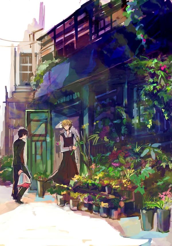 Tags: Anime, Mana Mannha, DURARARA!!, Heiwajima Shizuo, Orihara Izaya, Flower Shop, Store, Mobile Wallpaper, Fanart From Pixiv, Pixiv, Fanart