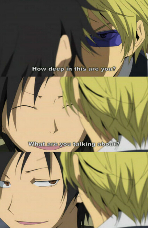 Tags: Anime, DURARARA!!, Heiwajima Shizuo, Orihara Izaya, Rage Comics, Troll Face, Subtitled, Screenshot, Mobile Wallpaper