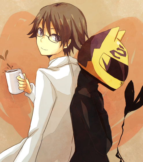 Tags: Anime, Tirutiru Bee, DURARARA!!, Kishitani Shinra, Sturluson Celty, Heart Background, Cup
