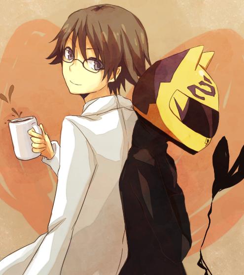 Tags: Anime, Tirutiru Bee, DURARARA!!, Kishitani Shinra, Sturluson Celty, Bodysuit, Heart Background