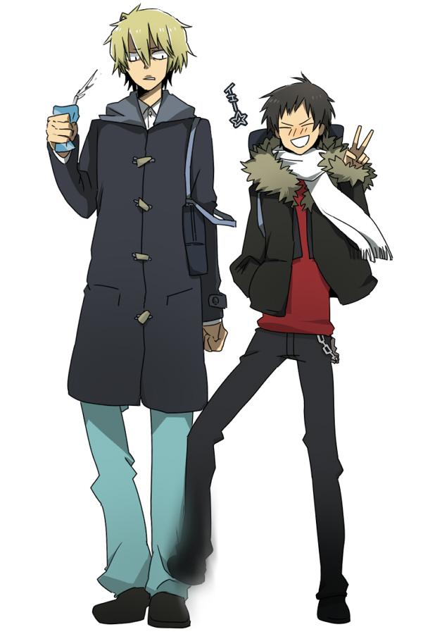 Tags: Anime, Ppera, DURARARA!!, Orihara Izaya, Heiwajima Shizuo, Mobile Wallpaper, Pixiv