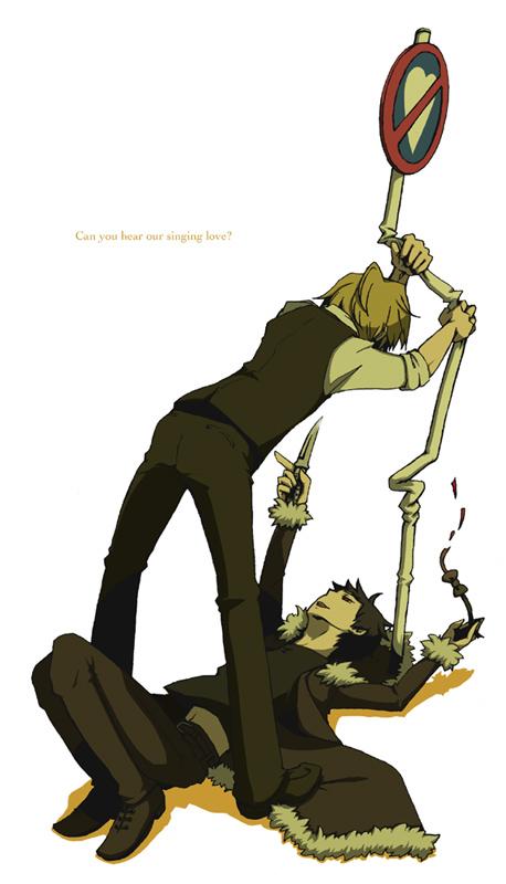 Tags: Anime, DURARARA!!, Orihara Izaya, Heiwajima Shizuo, Mobile Wallpaper
