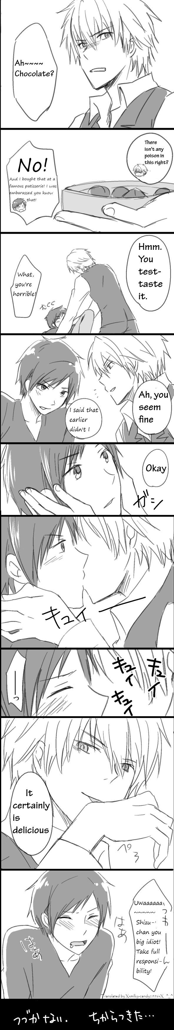 Tags: Anime, DURARARA!!, Heiwajima Shizuo, Orihara Izaya, Translated, Comic, Shizaya