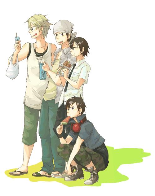 Tags: Anime, Pixiv Id 328612, DURARARA!!, Kadota Kyouhei, Heiwajima Shizuo, Kishitani Shinra, Orihara Izaya, Raijin Days