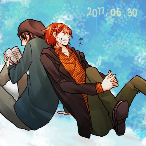 Tags: Anime, Pon ☆, DURARARA!!, Rokujo Chikage, Kadota Kyouhei, Fanart, Pixiv