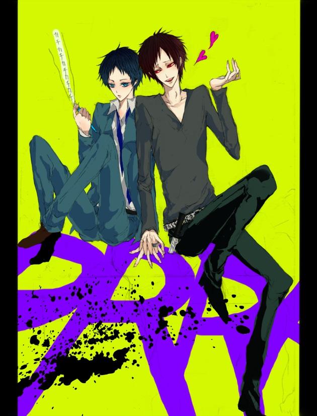 Tags: Anime, Pixiv Id 573568, DURARARA!!, Ryuugamine Mikado, Orihara Izaya, Pixiv, PNG Conversion, Fanart
