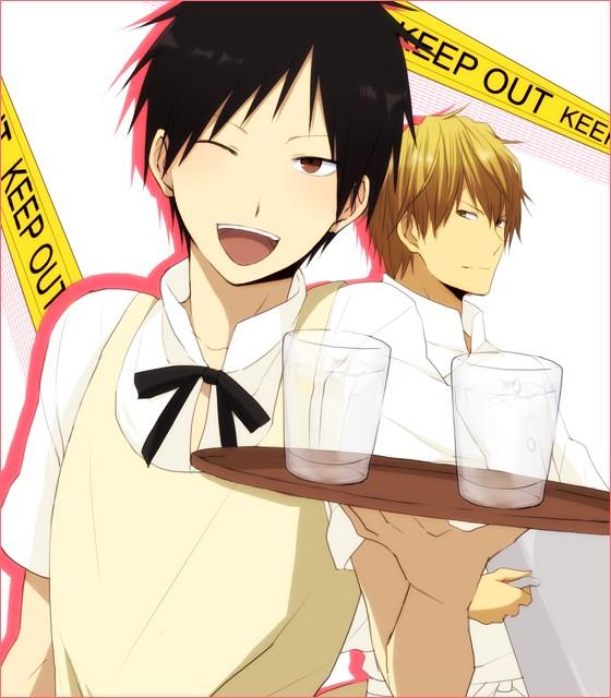 Tags: Anime, 5011 (artist), DURARARA!!, Heiwajima Shizuo, Orihara Izaya, Working!! (Parody), PNG Conversion, Pixiv, Fanart