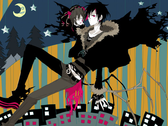 Tags: Anime, Fuu Takara, DURARARA!!, Sturluson Celty, Orihara Izaya, Moon And Star, Stars (Sky)