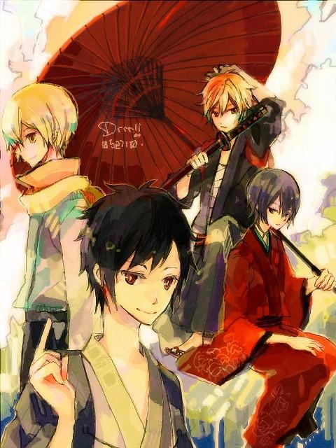 Tags: Anime, Donguri-usagi, DURARARA!!, Heiwajima Shizuo, Kida Masaomi, Orihara Izaya, Heiwajima Kasuka, Fanart, PNG Conversion, Pixiv