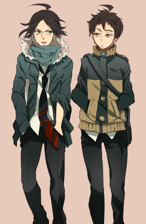 Tags: Anime, Pixiv Id 562539, Danganronpa/Zero, Super Danganronpa 2, Hinata Hajime, Matsuda Yasuke, Mobile Wallpaper, Fanart From Pixiv, Pixiv, Fanart
