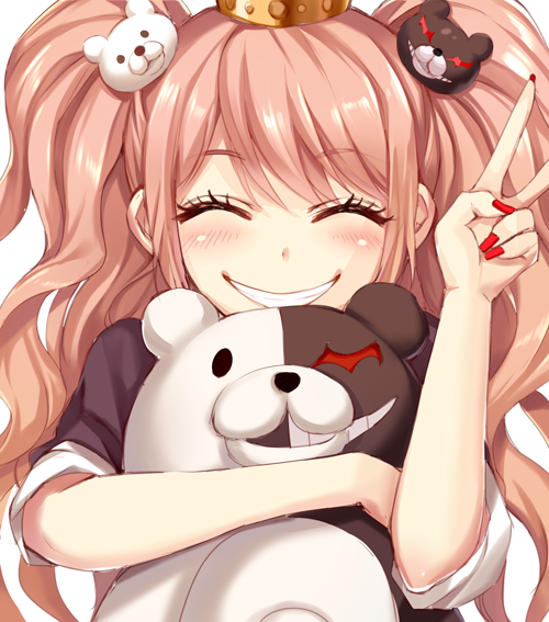 Tags: Anime, Momoko (Momopoco), Danganronpa, Monokuma, Enoshima Junko, Fanart From Pixiv, Pixiv, PNG Conversion, Fanart