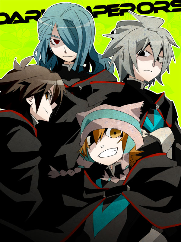 Tags: Anime, Mudo, Level-5, Inazuma Eleven, Yamino Kageto, Kazemaru Ichirouta, Handa Shinichi, Matsuno Kuusuke, Dark Emperors Uniform, Text: Character Group Name, Dark Emperors
