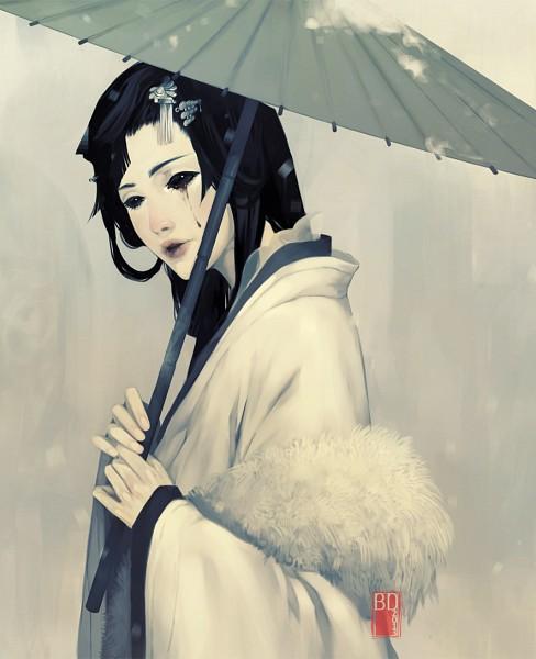 Tags: Anime, Dark134, Unnaturally White Skin, Japanese Umbrella, Black Sclera, Blood Tears