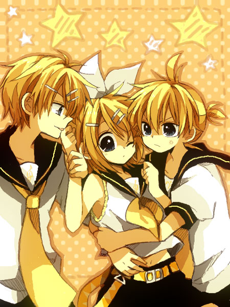 Tags: Anime, An (Pixiv1170947), VOCALOID, Kagamine Rinto, Kagamine Len, Kagamine Rin, Threesome, Darling☆, Kagamine Mirrors