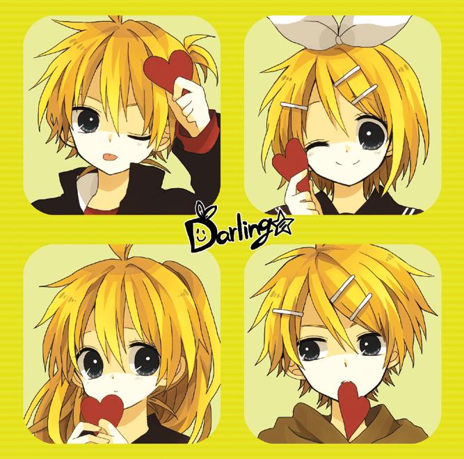 Tags: Anime, An (Pixiv1170947), VOCALOID, Kagamine Rinto, Kagamine Lenka, Kagamine Len, Kagamine Rin, ;P, Darling☆, Pixiv, Kagamine Mirrors
