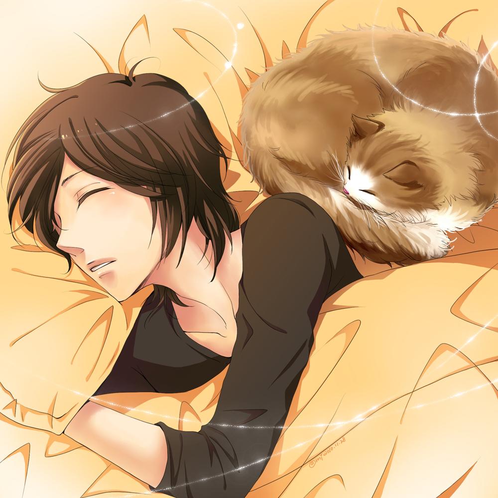 Картинки аниме парни спящие