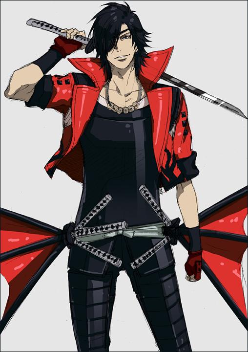 Tags: Anime, Kumonosuke, Sengoku Basara, Date Masamune (Sengoku Basara), Devil May Cry (Parody), Sanada Yukimura (Sengoku Basara) (Cosplay), Pixiv, Mobile Wallpaper