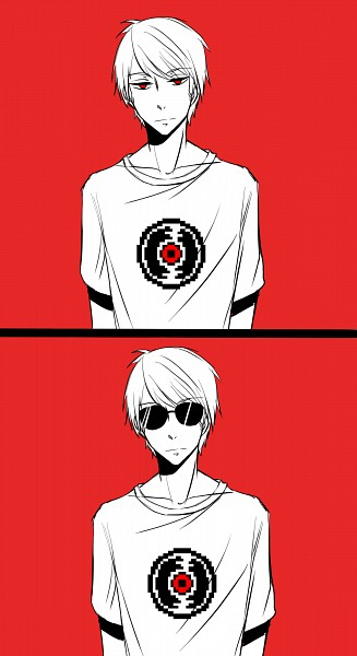 Tags: Anime, Homestuck, Dave Strider, Red Background, T-shirt