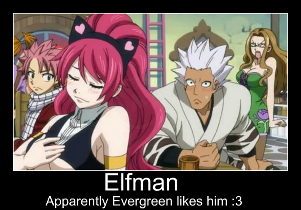 Tags: Anime, FAIRY TAIL, Evergreen, Elfman Strauss, Natsu Dragneel, Sherry Blendy, Hand on Chest