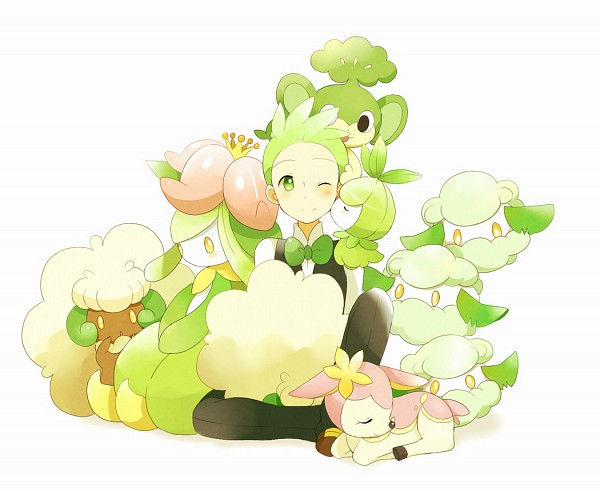 Tags: Anime, Pokémon, Deer, Kiss On The Cheek, Deerling, Dento (Pokémon), Pansage
