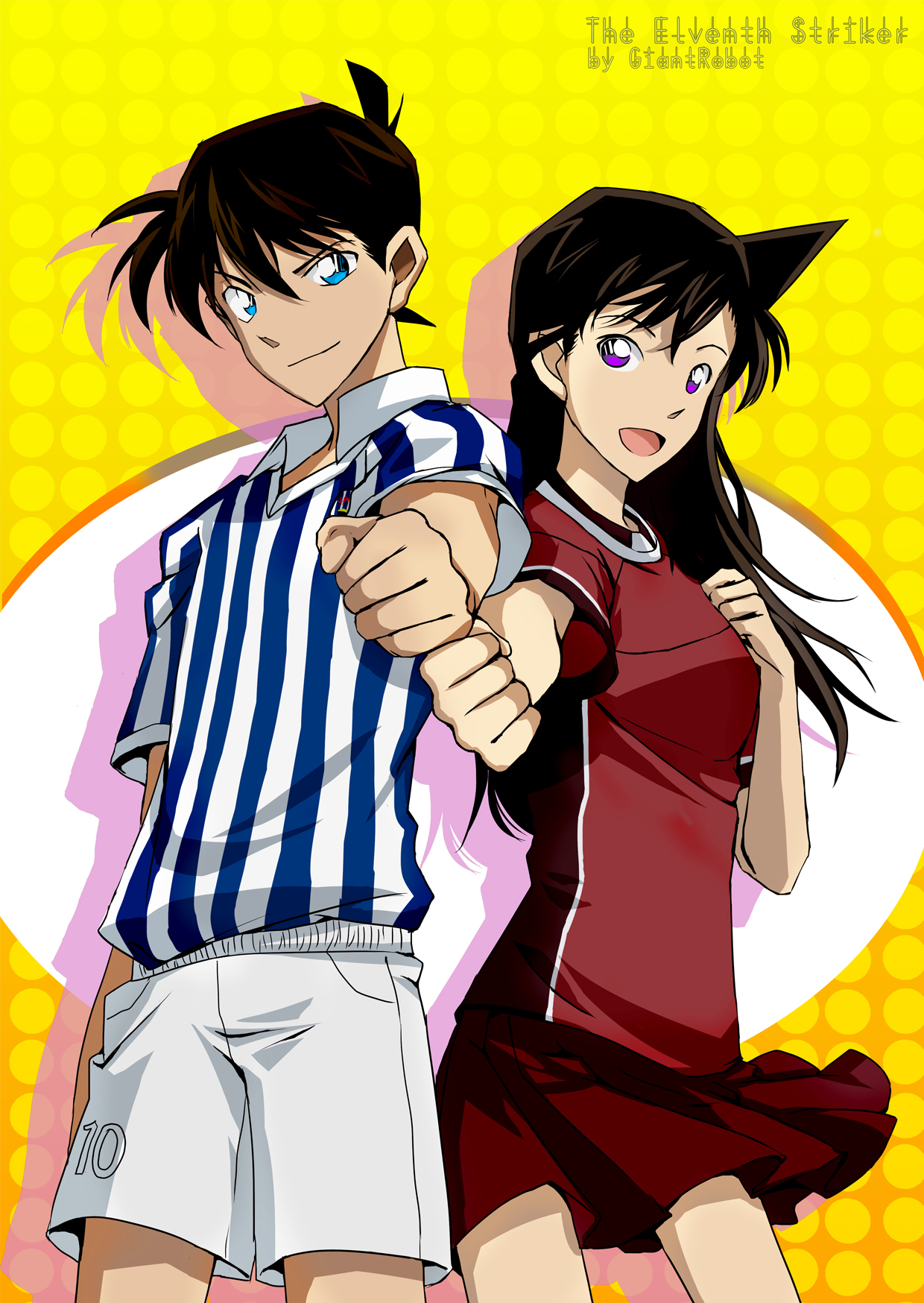 ... Ran, Kudou Shinichi, Yellow Background, Pixiv Id 1223059, Red Skirt