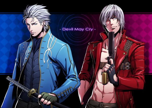 Tags: Anime, Red Lian, Devil May Cry, Vergil (Devil May Cry), Dante (Devil May Cry), Checkered, Fingerless Gloves