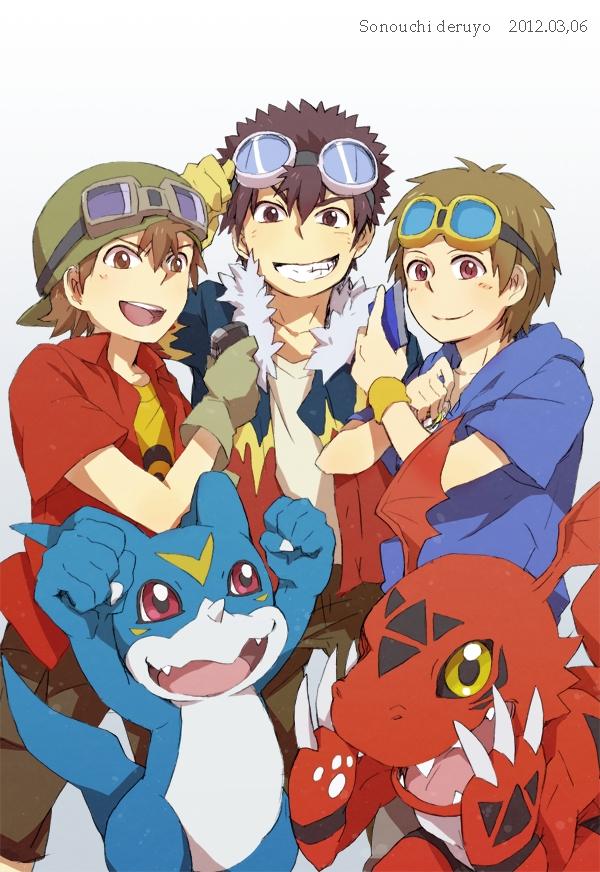 Tags: Anime, Pixiv Id 625061, Digimon Frontier, Digimon Adventure, Digimon Tamers, Kanbara Takuya, Guilmon, Matsuda Takato, Motomiya Daisuke, Veemon, Mobile Wallpaper, Pixiv, Fanart