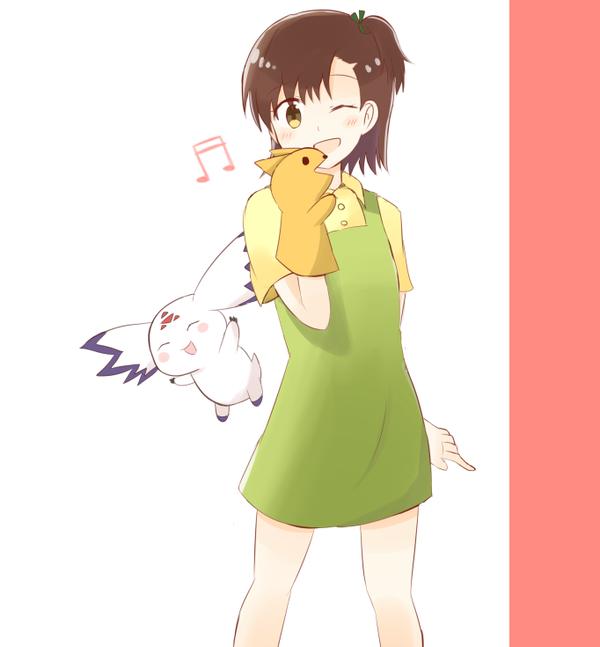 Tags: Anime, Pixiv Id 3299776, Digimon Tamers, Culumon, Katou Juri, Green Ribbon, Hand Puppet, Twitter, PNG Conversion, Fanart