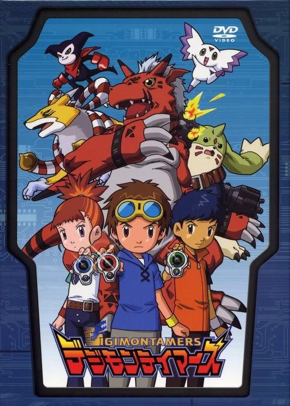 Tags: Anime, Toei Animation, Digimon Tamers, Kyuubimon, Impmon, Li Jianliang, Growlmon, Culumon, Matsuda Takato, Gargomon, Makino Ruki, Official Art, DVD (Source)