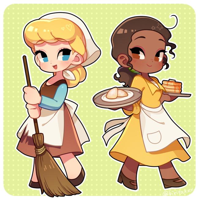 Tags: Anime, Kirita, Frog Prince, Cinderella, The Princess and the Frog, Tiana (Frog Prince), Cinderella (Character), Cinderella (Disney), Holding Broom, Pancakes, Disney