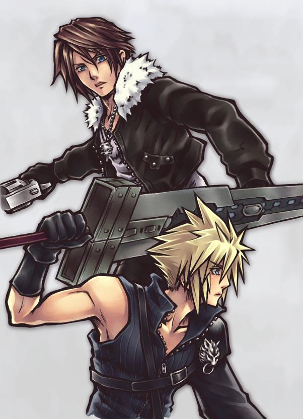 Tags: Anime, SQUARE ENIX, Final Fantasy VIII, Dissidia, Final Fantasy VII, Squall Leonhart, Cloud Strife, Tifa Lockhart, Gunblade, Mobile Wallpaper