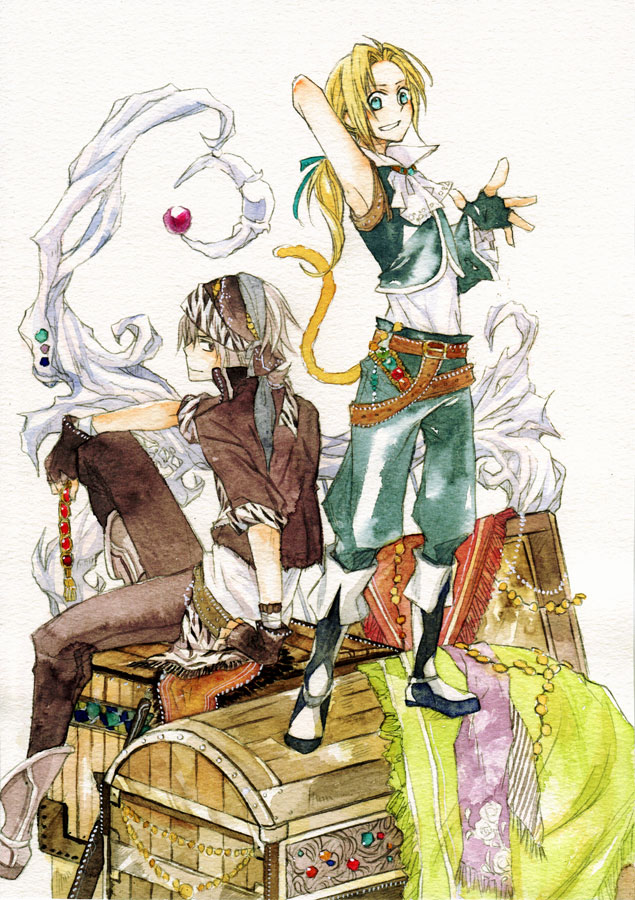 Tags: Anime, Enuenu Natsumi, Final Fantasy VI, Dissidia, Final Fantasy IX, Zidane Tribal, Locke Cole, Treasure Chest, Treasure, Traditional Media, Pixiv, Mobile Wallpaper