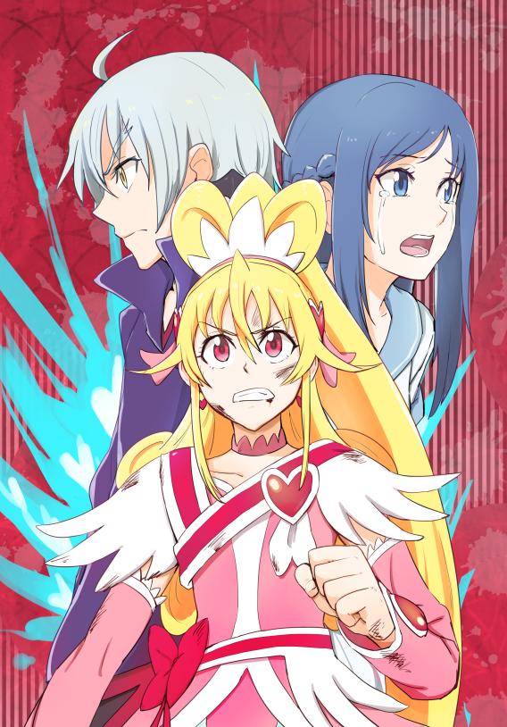 Tags: Anime, Ayatori (238676), Dokidoki! Precure, Ira (Dokidoki! Precure), Hishikawa Rikka, Aida Mana, Cure Heart, Bruise, Fanart, Fanart From Pixiv, Pixiv