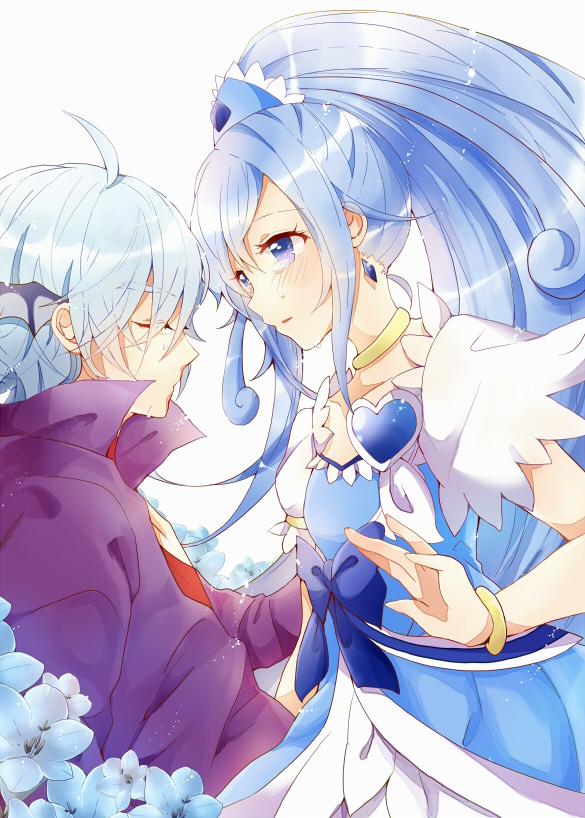 Tags: Anime, Pixiv Id 285473, Dokidoki! Precure, Hishikawa Rikka, Cure Diamond, Ira (Dokidoki! Precure), Purple Jacket, Pixiv, Fanart, Fanart From Pixiv