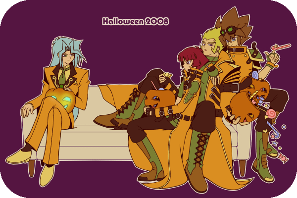 Tags: Anime, Pixiv Id 7161795, Yu-Gi-Oh! Duel Monsters, Yu-Gi-Oh!, Dartz, Rafael, Valon, Amelda, Candy Cane, Orange Pants, Orange Outerwear, Brown Pants, Looking At Food
