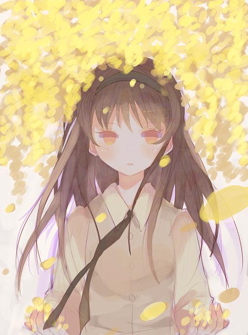 Tags: Anime, Domotolain, Holding Petals, Blank Stare, Original, Pixiv
