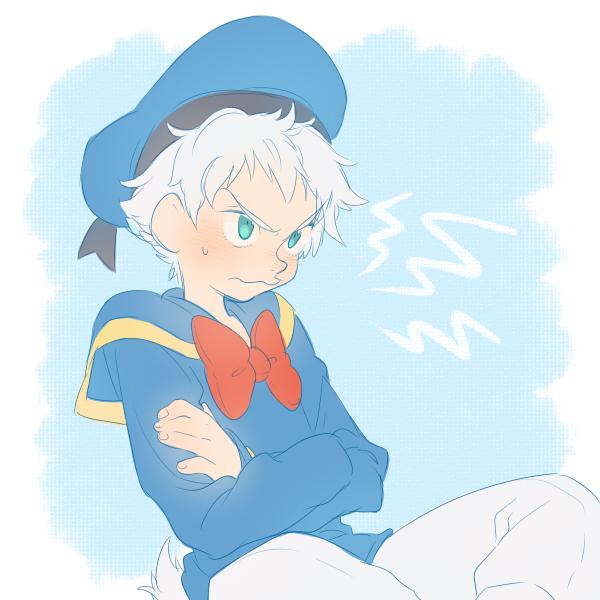 Tags: Anime, Kirita, Donald Duck, Blue Shirt, Crossed Arms, Red Ribbon, Sailor Suit