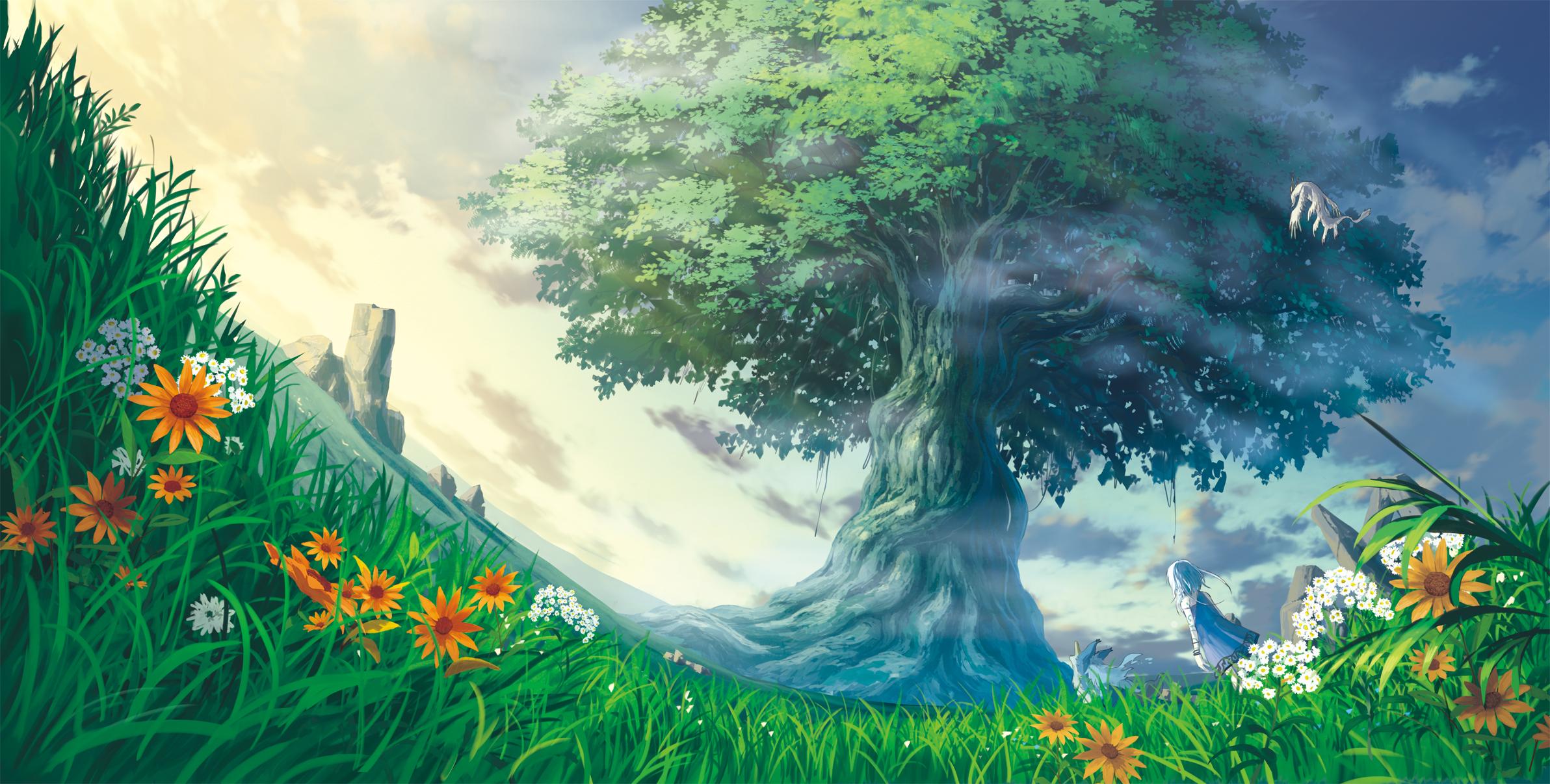 аниме, закат, цветочная поляна скачать