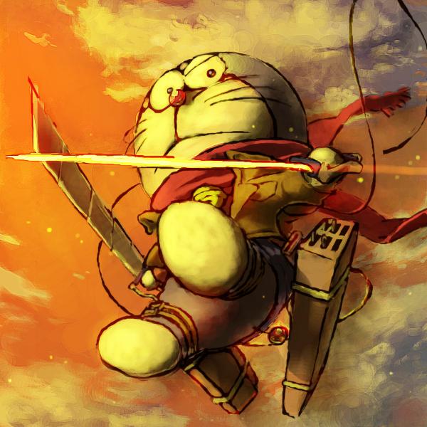 Tags: Anime, Pixiv Id 5218992, Doraemon, Doraemon (Character), Shingeki no Kyojin (Cosplay), Shingeki no Kyojin (Parody), Fanart From Pixiv, Fanart, PNG Conversion, Pixiv