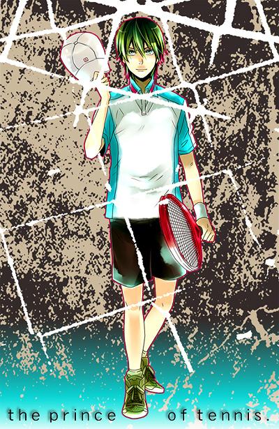 Tags: Anime, Mametsuko, Tennis no Ouji-sama, Echizen Ryoma, Tennis Racket, Seigaku Uniform, Fanart, Pixiv, Seigaku