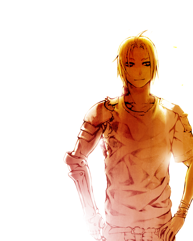 Tags: Anime, Arasdel, Fullmetal Alchemist, Edward Elric, Orange (Color), Mechanical Arm, Fanart