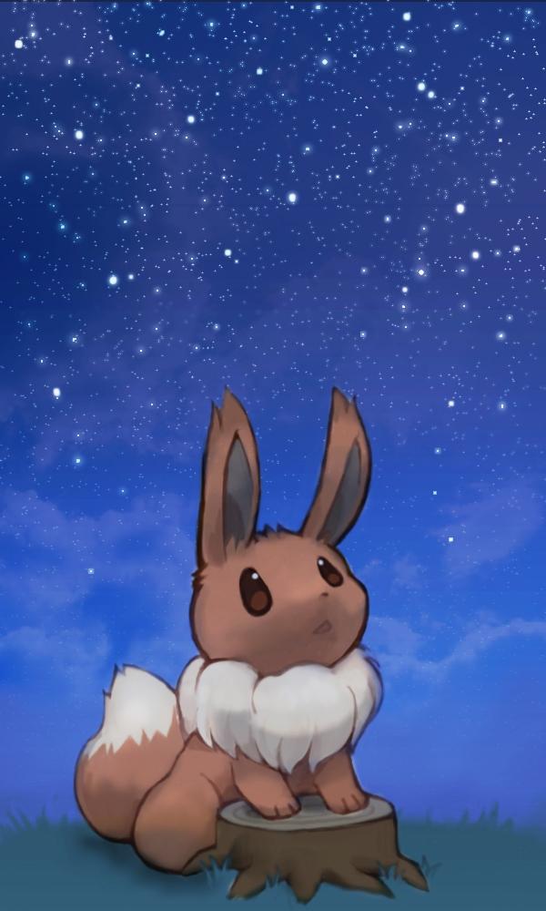 Tags: Anime, Mochi-san (Mangaka), Pokémon, Eevee, Tree Stump, Pixiv, Fanart From Pixiv, PNG Conversion, Fanart, Mobile Wallpaper