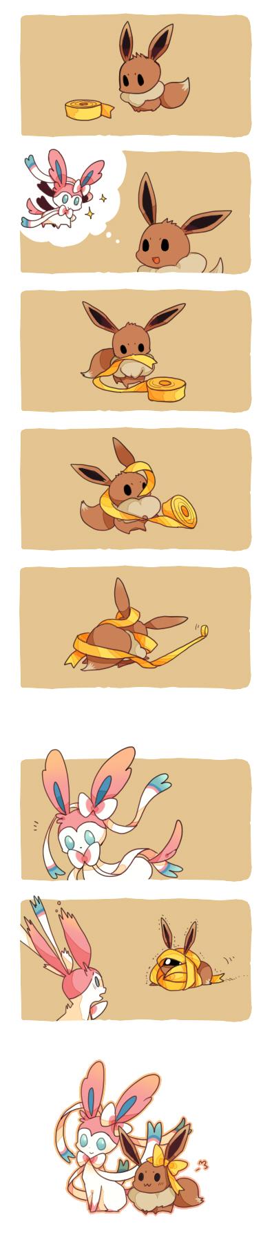 Tags: Anime, Roku Roku (Greentea66), Pokémon, Eevee, Sylveon, Humor, Humor Comic