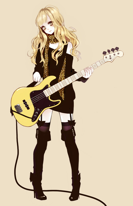 Tags: Anime, Eiri, Leopard Print, Bass Guitar, Beige Background, Original, Mobile Wallpaper, Pixiv