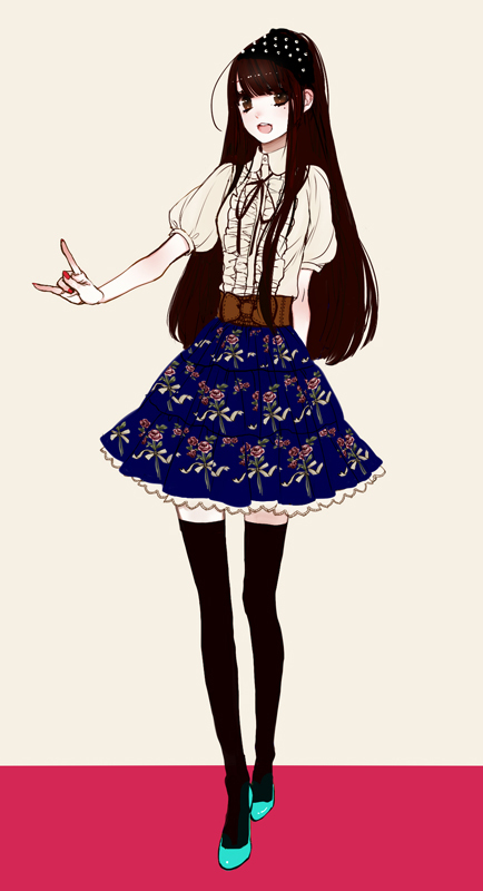 Tags: Anime, Eiri, Frilled Skirt, I Love You Gesture, Flats, Mole, Puffy Sleeves