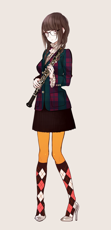 Tags: Anime, Eiri, Checkered Legwear, Oboe, Pixiv, Original
