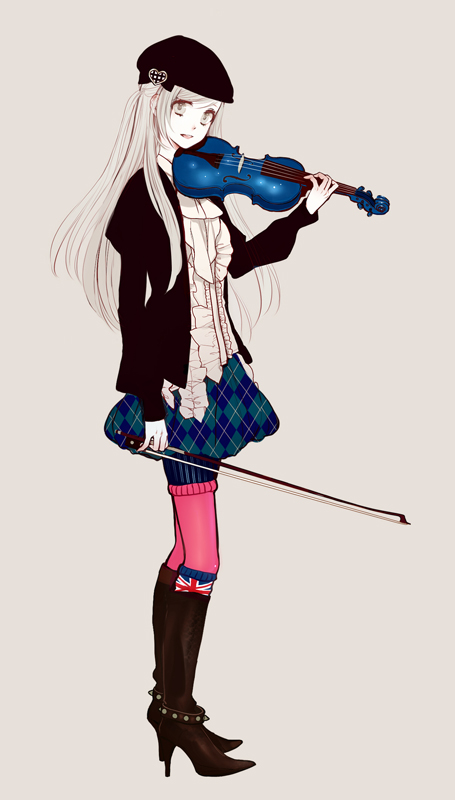 Tags: Anime, Violin, High Heels, Beret, Gray Background, Eiri, Country Flag